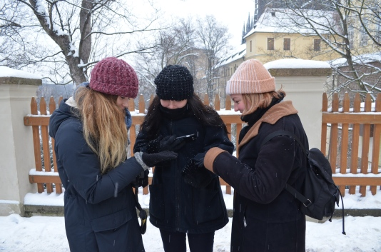 Australians examining snow